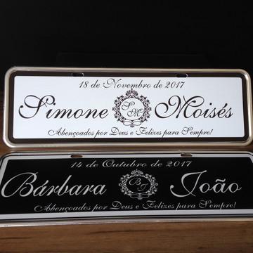 kit 02 Placas personalizadas Aço casamento monograma