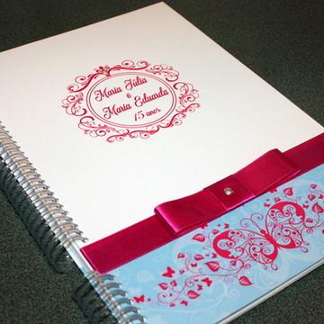 Caderno Assinatura - 15 anos - Pink e azul