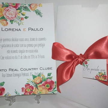 Convite casamento floral - casamento no campo