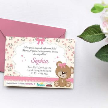 Chá de Fraldas Ursinha com lacinho rosa