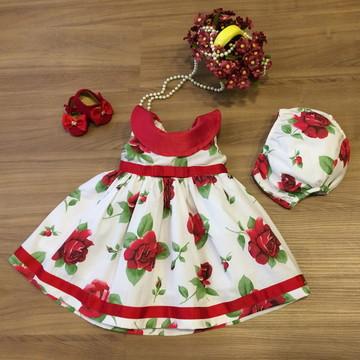 Vestido com Estampa Floral Vermelho