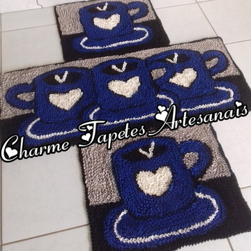 Xícaras azuis tapetes para decoração da cozinha frufru