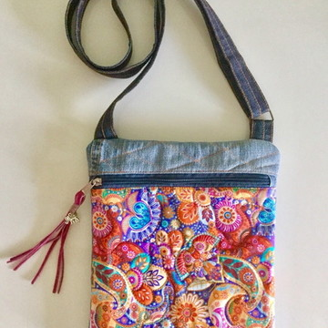 9bc418a745 Bolsa jeans customizado crossbody