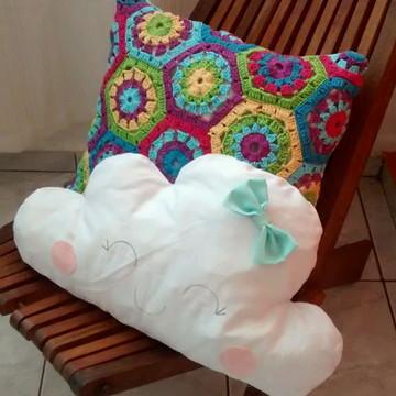 Capa para almofada em crochê patchwork