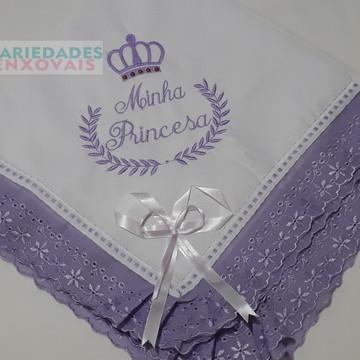 Manta Para bebe minha princesa lilás piquet algodao
