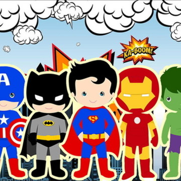 Painel 1,50x1M Heroes Cute.