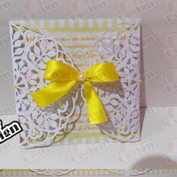 Convite Batizado Branco e Amarelo
