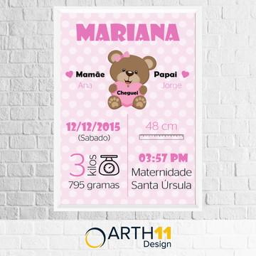 Quadro Meu Nascimento Ursinho Rosa