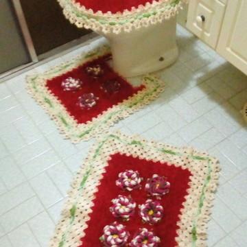 Jogo de banheiro Felpudo Rosa e Branco