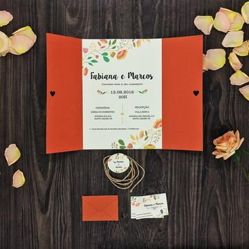 Convite De Casamento Rústico e Floral