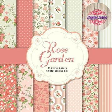 Kit Digital Papéis Florais Rosa