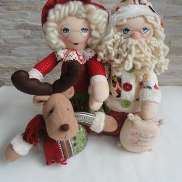 Enfeite de Natal Papai Noel, Mamãe Noel e Rena