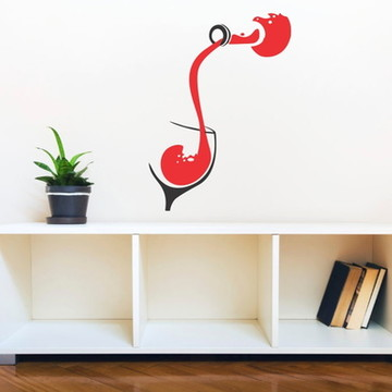 Adesivo vinho taça decoração cozinha degustação restaurante