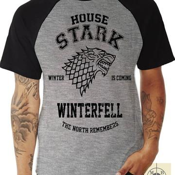 Camiseta Raglan Game Of Thrones House Stark Casa Stark