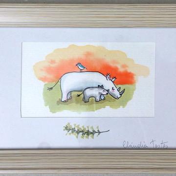 Quadro infantil com pintura original em aquarela: Savana