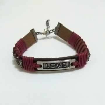 Pulseira Love com strass lateral
