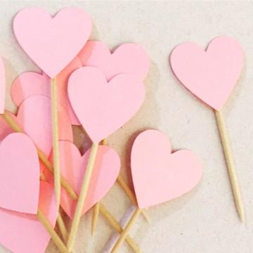 Topper Coração Rosa Metálico
