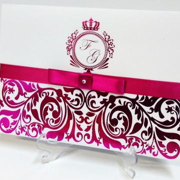 Convite de Casamento Hot Stamp Elegante Metalizado