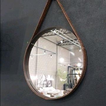 Espelho 75cm diam. alça couro marrom