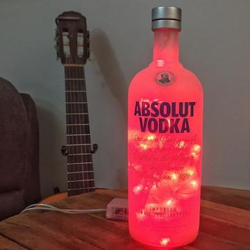 Luminária de garrafa de Vodka - Fosca - LED Vermelho