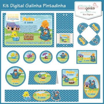 Kit Festa Digital Galinha Pintadinha Azul