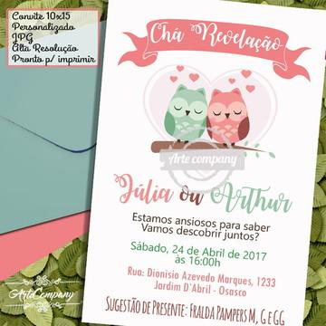 Convite Chá de Revelação Corujinha