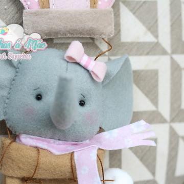 Enfeite de Maternidade Balão + Elefantinha