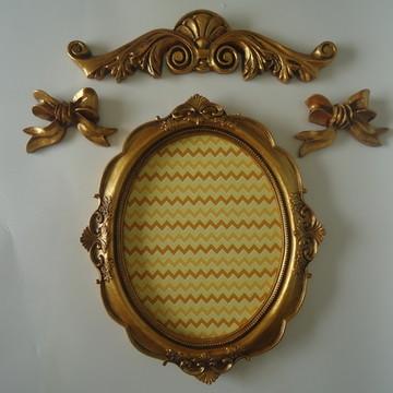 Porta Retrato/Espelho- Ouro Velho