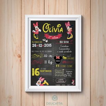 Chalkboard Aniversário - Tema Minnie