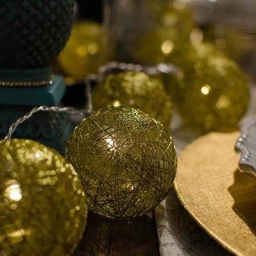 Cordão de luz Dourado Natal - mesa posta guirlanda 20 leds