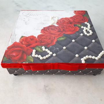 Caixa em mdf para joia/bijuteria preta, vermelha e branca