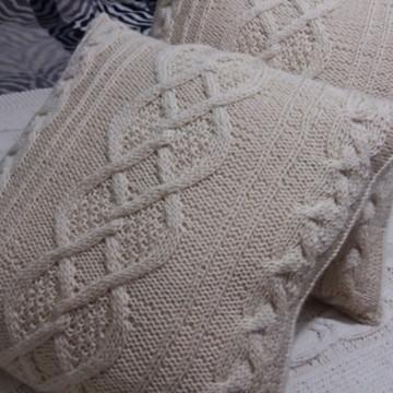 Almofada de tricô Irlandês cor Barbante