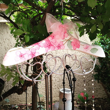 Cabide Organizador de Colares - Estampa flor de cerejeira