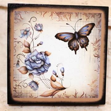 Caixa MDF quadrada, pintura, decoupagem e craquelê