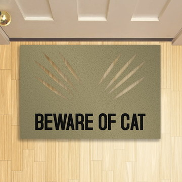 Tapete Capacho Criativo Pet Beware of Cat