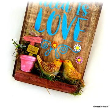 Nicho rústico decorativo Bem-vindos - Sweet Home