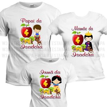 8 Camisetas Personalizadas Branca de Neve Cute Aniversário