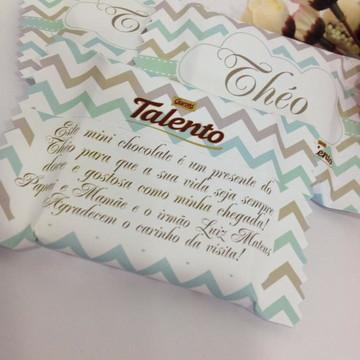 Lembrança chocolate chevron cinza e turquesa Nascimento