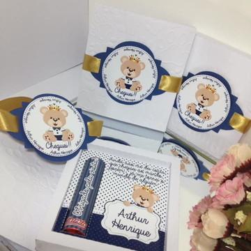 Caixa com chocolate - lembrança maternidade urso luxo