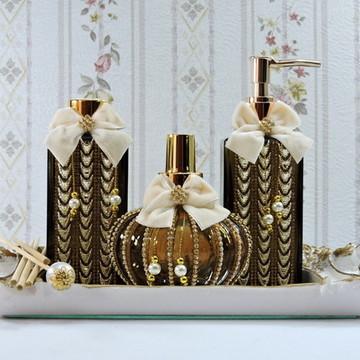 Kit Luxo para Banheiro ou Lavabo com Laço de Veludo