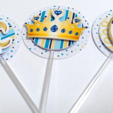 Toppers doce Primeiro Reinado - Coroa Azul