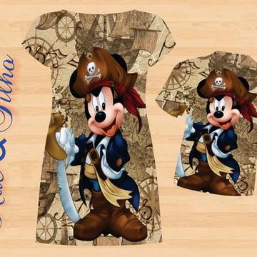 Mãe e Filho Mickey e Minnie Pirata