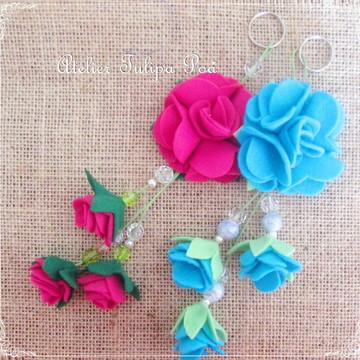 Chaveiro rosa/flor em feltro