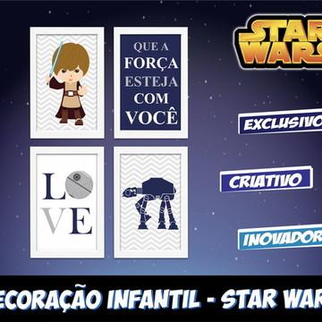 Kit 4 Quadros Decorativos Star Wars Baby com Moldura