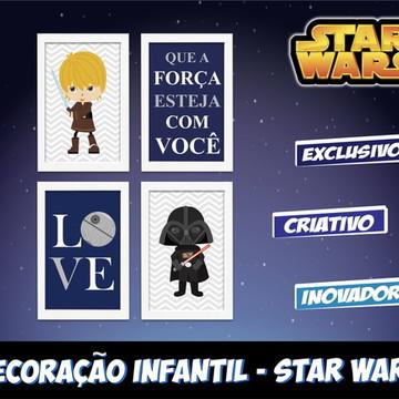 Kit 4 Quadros Decorativos Darth Vader Baby com Moldura