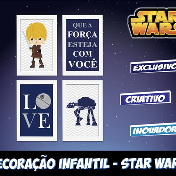 Star Wars Baby Kit 4 Quadros Decoração Quarto Infantil