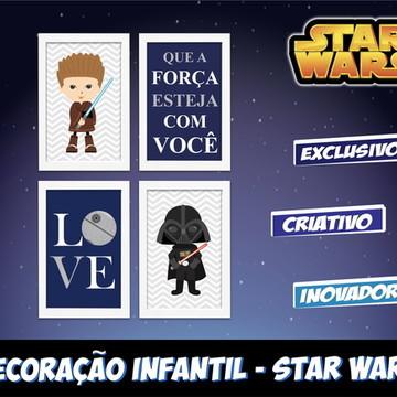 Kit 4 Quadros Star Wars Baby com Moldura Quarto Menino