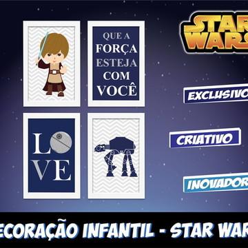 Star Wars 4 Quadros Quarto Infantil