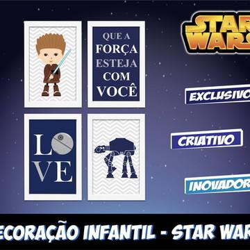 Star Wars 4 Quadros Quarto Bebê