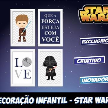 Star Wars 4 Quadros Decorativos Quarto Bebê
